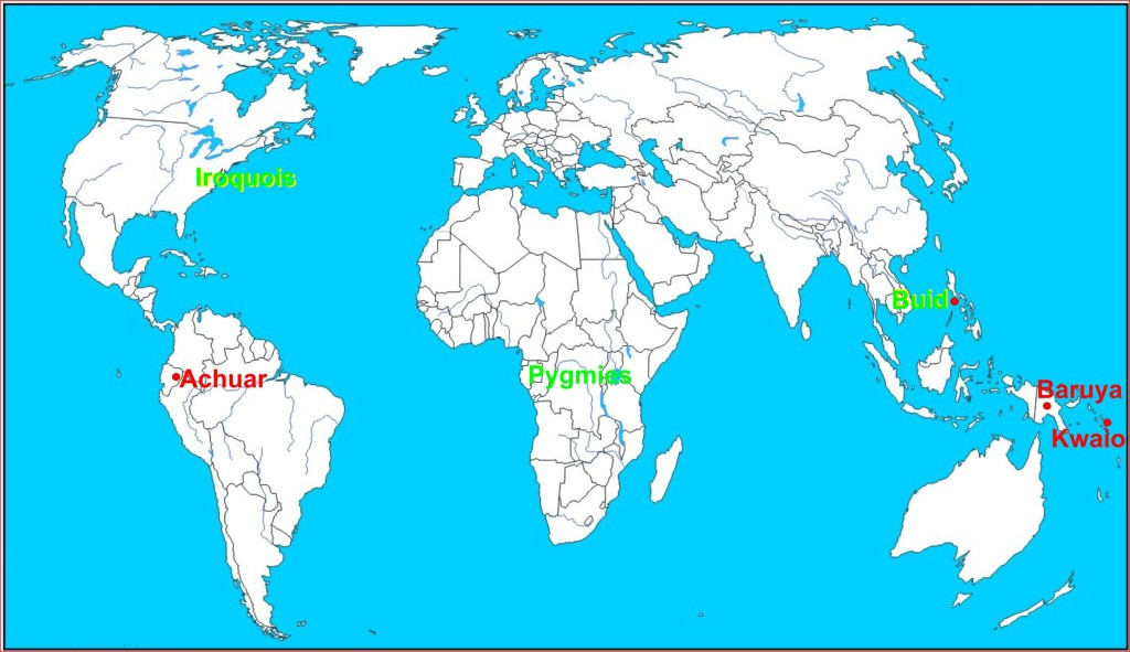 Position of women was examined for different continents. Buid live on the island of Mindoro (Philippines). Kwaio live on Malaita (Melanesia). Baruya live in New-Guinea.