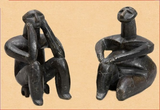 The Thinker and the Sitting Woman. Hamangia culture, Romania, 7000 - 6600 years ago.