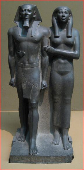Egyptian royal couple.  27th century BCE. Very static in comparison with 'The Thinker and the Sitting Woman'