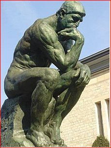 Rodin, statue known as 'Le penseur' (The thinker). Rodin created it as an image of Dante Aleghieri, the Italian writer. Its was 'The Poet'
