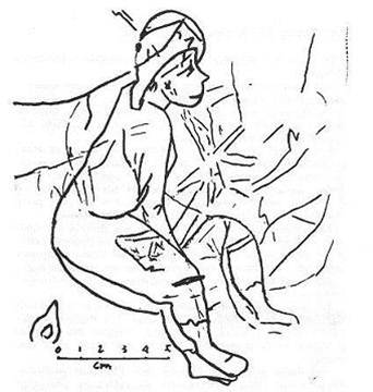 Cartoon Young man with hat, sitting 8