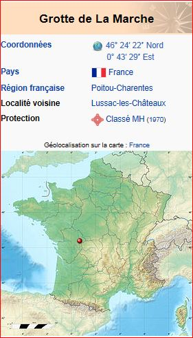 Situation of the cave of La Marche (cartoons in France